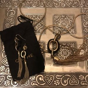 Jewelry - CACHE gold and black earring and necklace set
